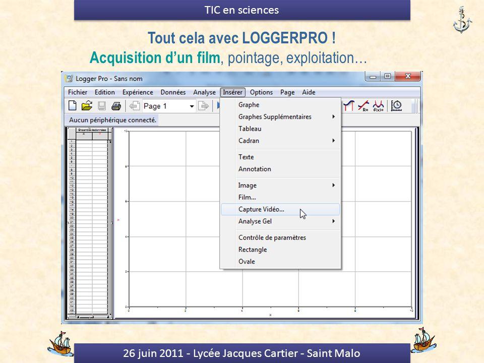 26 juin 2011 - Lycée Jacques Cartier - Saint Malo TIC en sciences Tout cela avec LOGGERPRO .