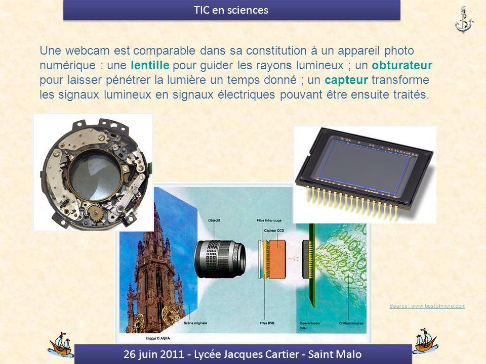 26 juin 2011 - Lycée Jacques Cartier - Saint Malo TIC en sciences Une webcam est comparable dans sa constitution à un appareil photo numérique : une lentille pour guider les rayons lumineux ; un obturateur pour laisser pénétrer la lumière un temps donné ; un capteur transforme les signaux lumineux en signaux électriques pouvant être ensuite traités.