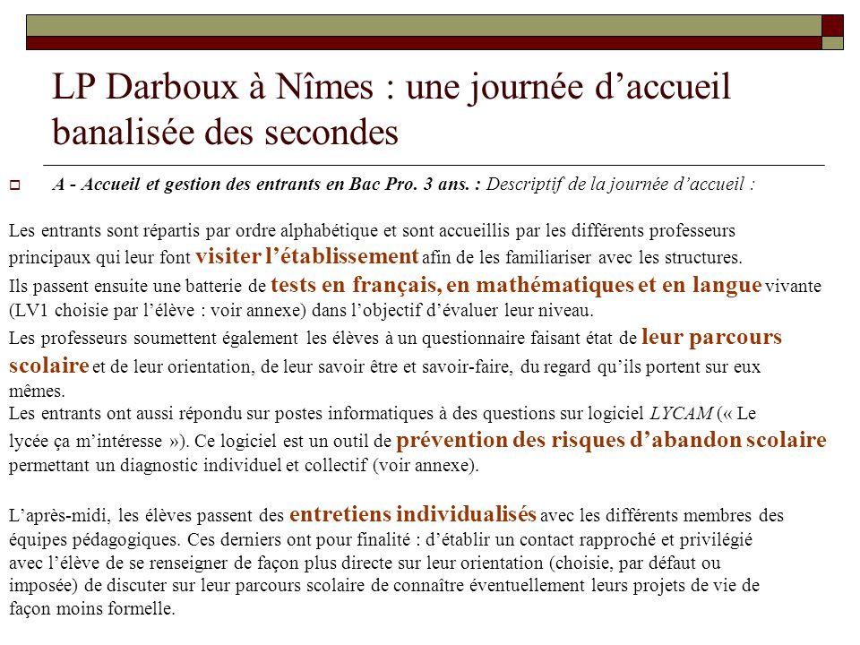 LP Darboux à Nîmes : une journée daccueil banalisée des secondes A - Accueil et gestion des entrants en Bac Pro. 3 ans. : Descriptif de la journée dac