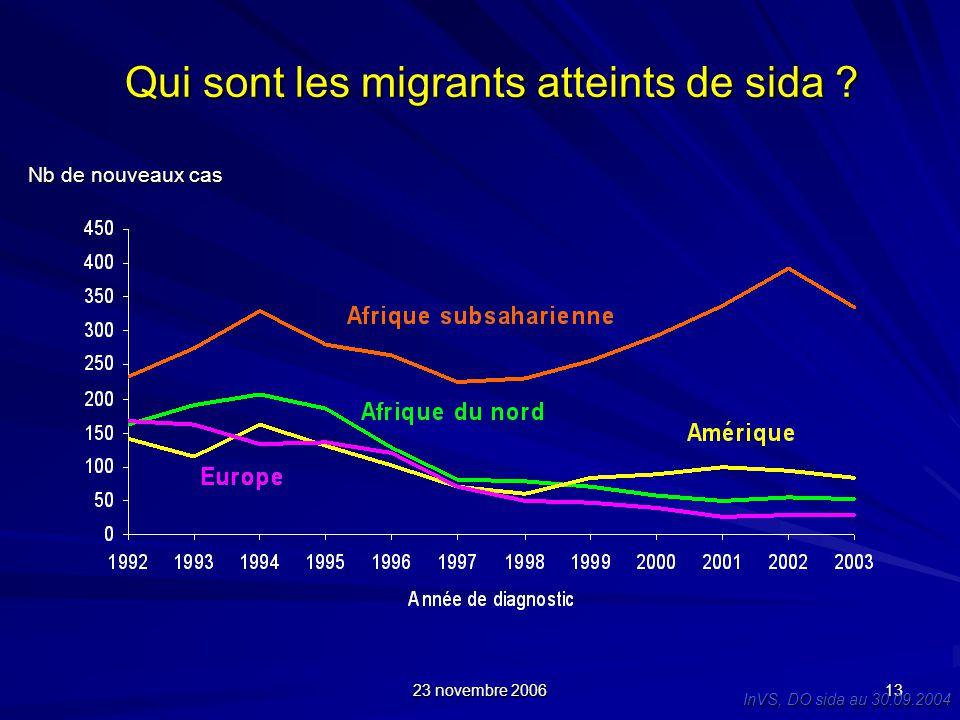 23 novembre 2006 13 Qui sont les migrants atteints de sida ? Qui sont les migrants atteints de sida ? Nb de nouveaux cas InVS, DO sida au 30.09.2004
