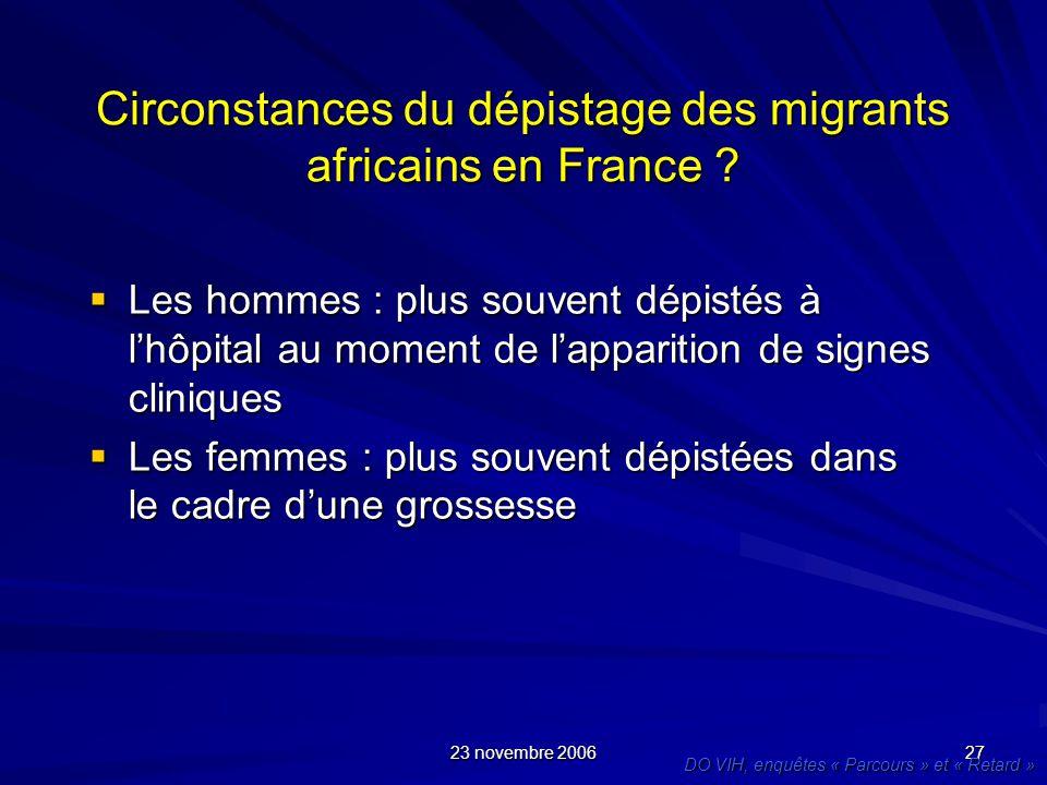 23 novembre 2006 27 Circonstances du dépistage des migrants africains en France ? Les hommes : plus souvent dépistés à lhôpital au moment de lappariti