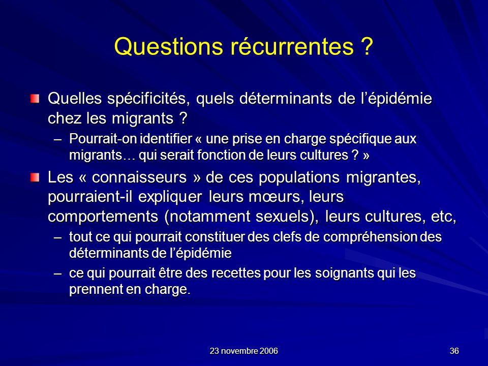 23 novembre 2006 36 Questions récurrentes ? Quelles spécificités, quels déterminants de lépidémie chez les migrants ? –Pourrait-on identifier « une pr