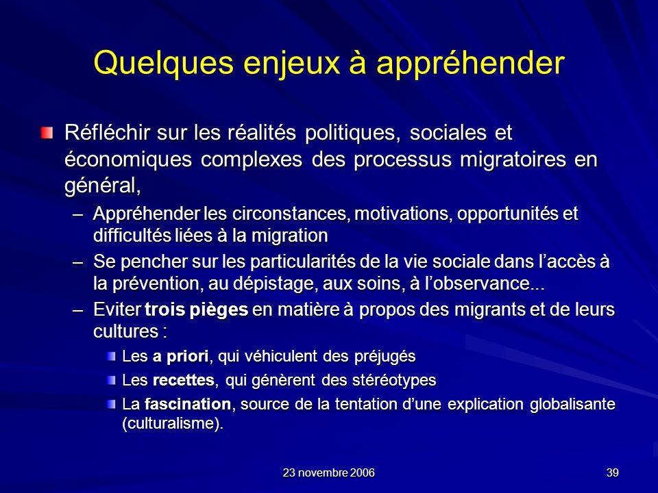 23 novembre 2006 39 Quelques enjeux à appréhender Réfléchir sur les réalités politiques, sociales et économiques complexes des processus migratoires e