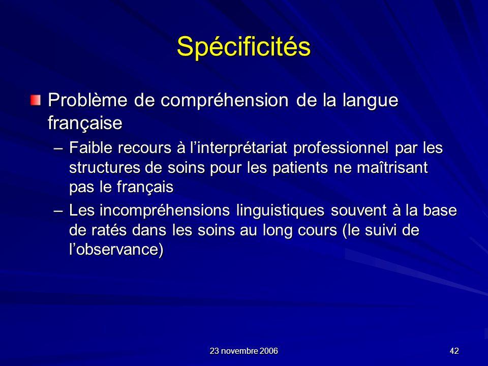 23 novembre 2006 42 Spécificités Problème de compréhension de la langue française –Faible recours à linterprétariat professionnel par les structures d