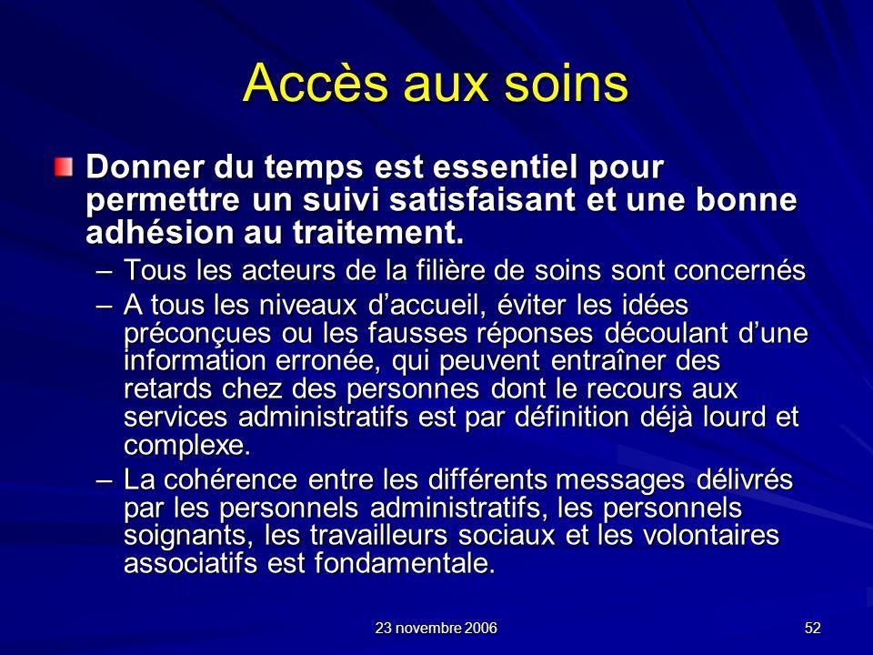 23 novembre 2006 52 Accès aux soins Donner du temps est essentiel pour permettre un suivi satisfaisant et une bonne adhésion au traitement. –Tous les