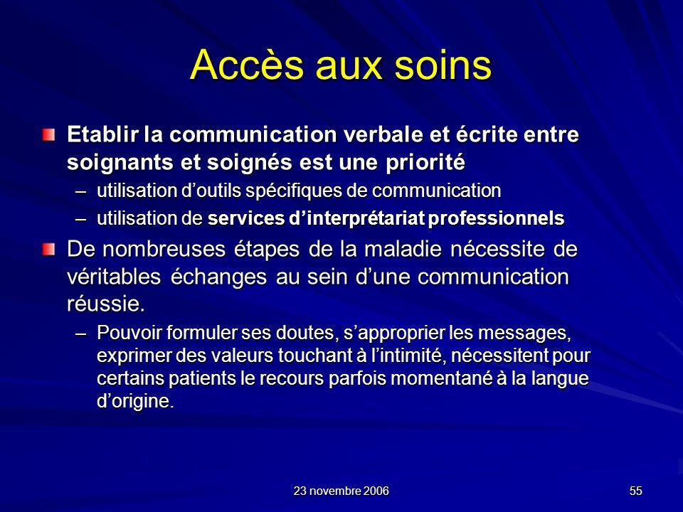 23 novembre 2006 55 Accès aux soins Etablir la communication verbale et écrite entre soignants et soignés est une priorité –utilisation doutils spécif