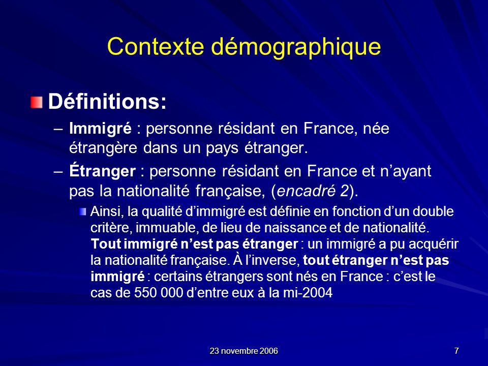 23 novembre 2006 7 Contexte démographique Définitions: – –Immigré : personne résidant en France, née étrangère dans un pays étranger. – –Étranger : pe