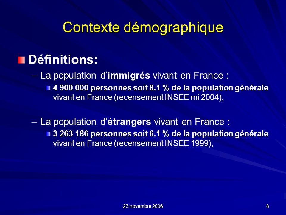 23 novembre 2006 8 Contexte démographique Définitions: – –La population dimmigrés vivant en France : 4 900 000 personnes soit 8.1 % de la population g