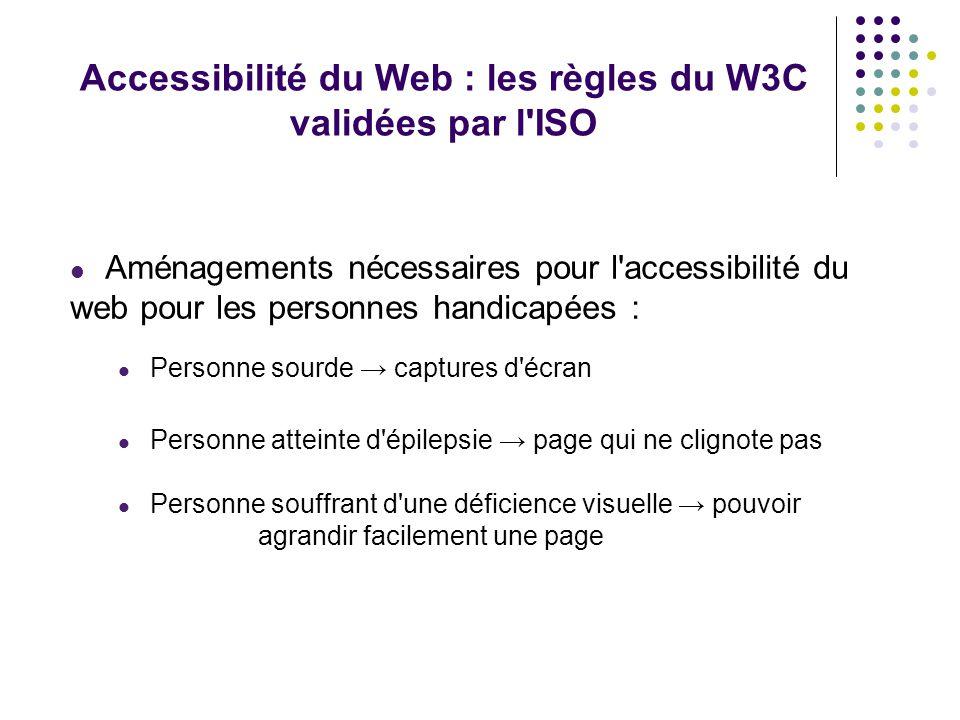 Accessibilité du Web : les règles du W3C validées par l ISO Aménagements nécessaires pour l accessibilité du web pour les personnes handicapées : Personne sourde captures d écran Personne atteinte d épilepsie page qui ne clignote pas Personne souffrant d une déficience visuelle pouvoir agrandir facilement une page -