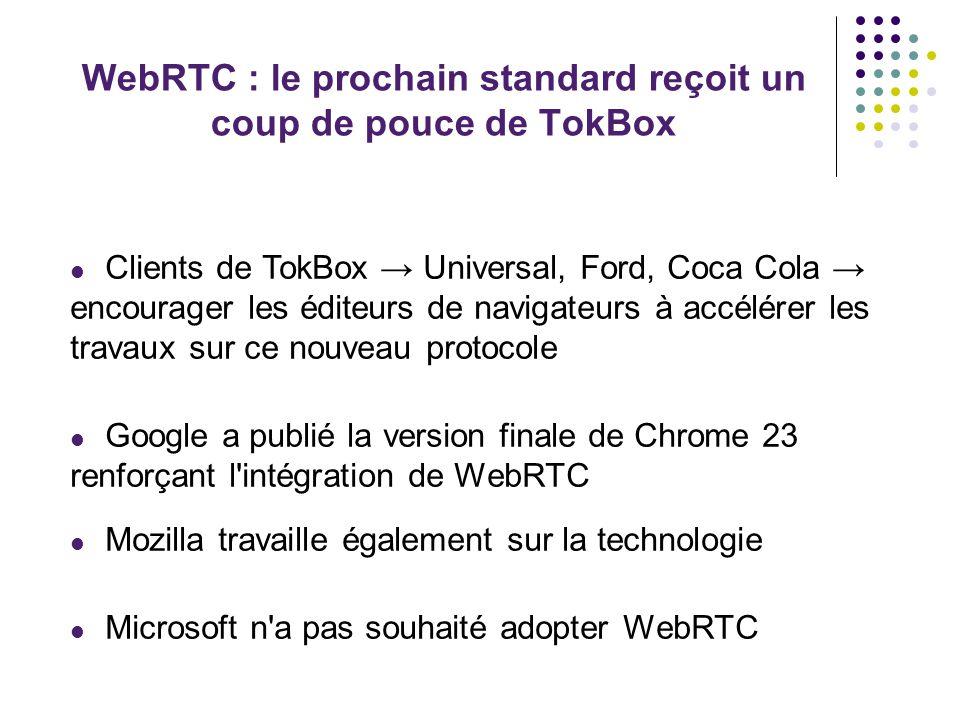 WebRTC : le prochain standard reçoit un coup de pouce de TokBox Clients de TokBox Universal, Ford, Coca Cola encourager les éditeurs de navigateurs à