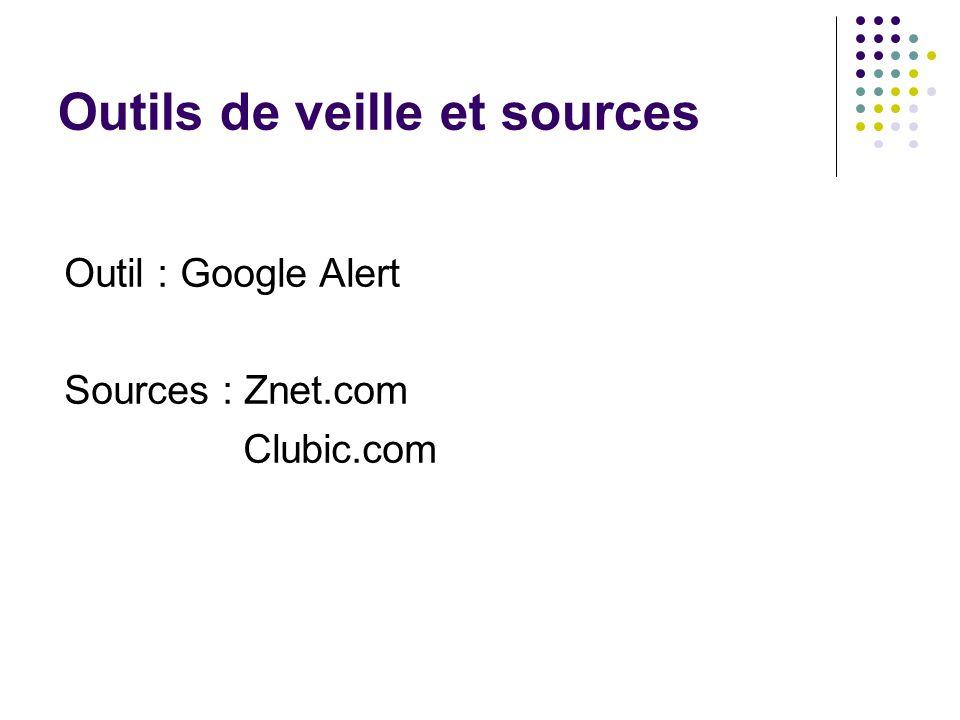 Outils de veille et sources Outil : Google Alert Sources : Znet.com Clubic.com