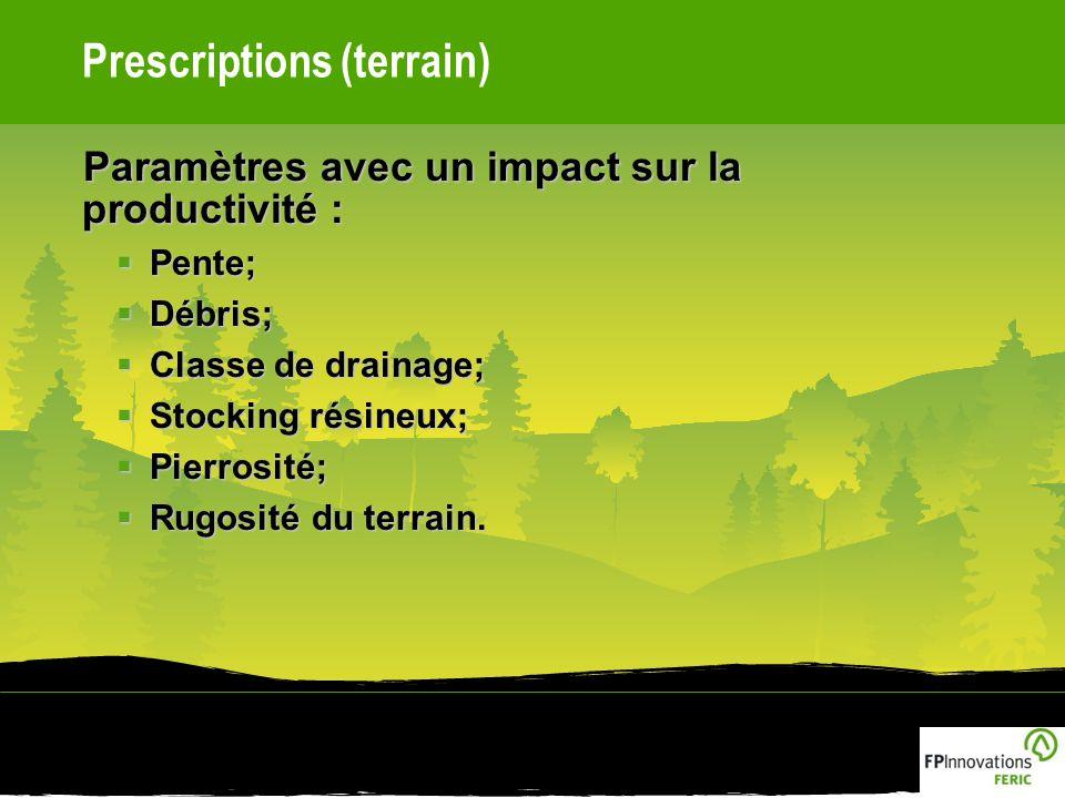 Prescriptions (terrain) Paramètres avec un impact sur la productivité : Pente; Pente; Débris; Débris; Classe de drainage; Classe de drainage; Stocking résineux; Stocking résineux; Pierrosité; Pierrosité; Rugosité du terrain.