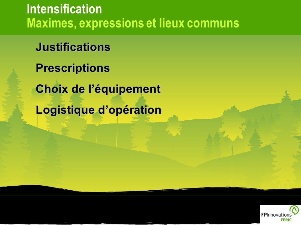 Intensification Maximes, expressions et lieux communsJustificationsPrescriptions Choix de léquipement Logistique dopération