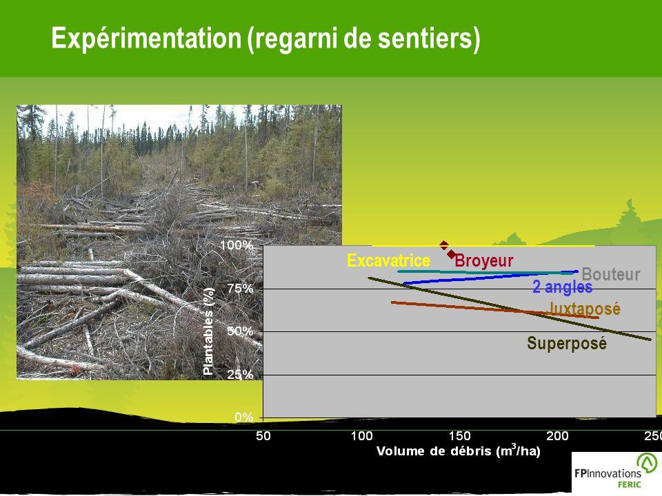 Expérimentation (regarni de sentiers)ExcavatriceBroyeur Bouteur 2 angles Juxtaposé Superposé