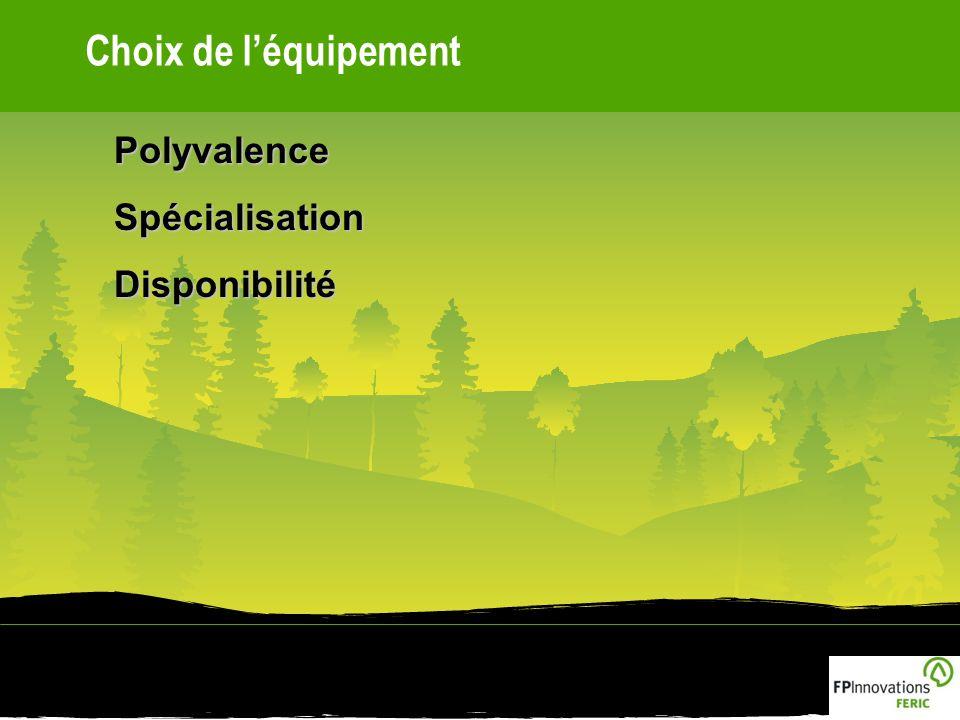 Choix de léquipementPolyvalenceSpécialisationDisponibilité
