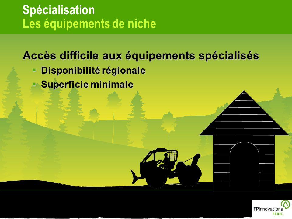 Spécialisation Les équipements de niche Accès difficile aux équipements spécialisés Disponibilité régionale Disponibilité régionale Superficie minimale Superficie minimale