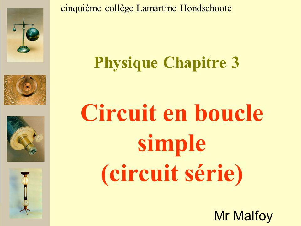 Physique Chapitre 3 Mr Malfoy cinquième collège Lamartine Hondschoote Circuit en boucle simple (circuit série)