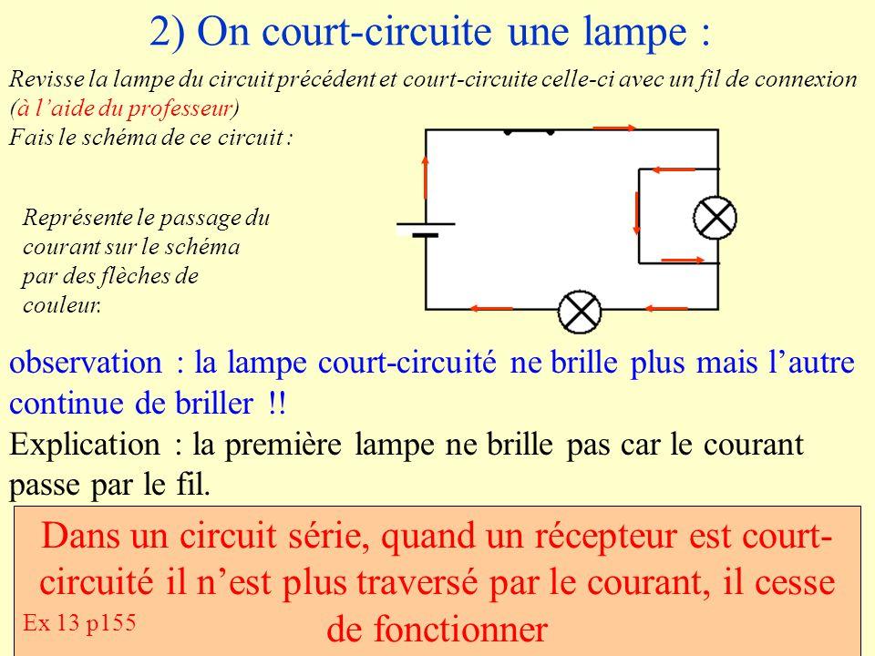 2) On court-circuite une lampe : Revisse la lampe du circuit précédent et court-circuite celle-ci avec un fil de connexion (à laide du professeur) Fai