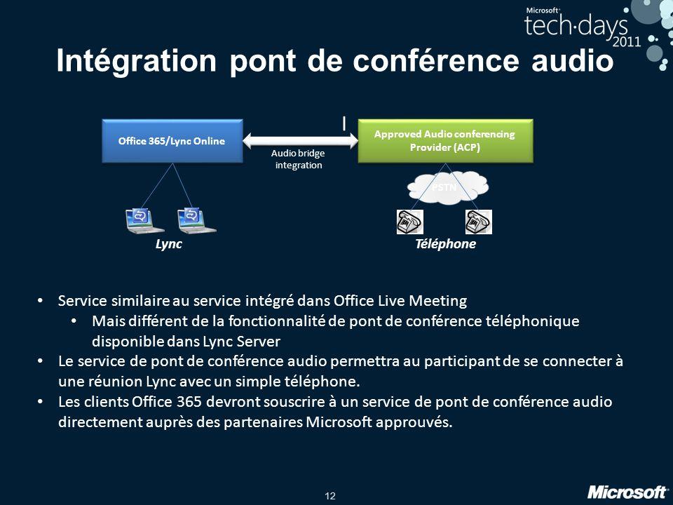 12 Intégration pont de conférence audio I Service similaire au service intégré dans Office Live Meeting Mais différent de la fonctionnalité de pont de