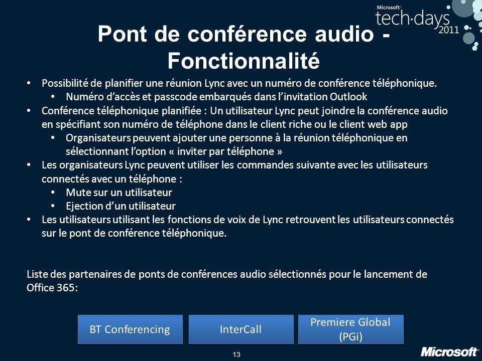 13 Possibilité de planifier une réunion Lync avec un numéro de conférence téléphonique. Numéro daccès et passcode embarqués dans linvitation Outlook C
