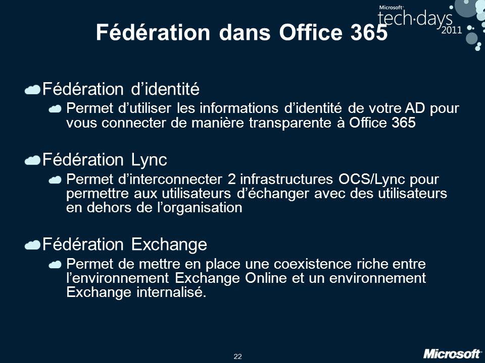 22 Fédération dans Office 365 Fédération didentité Permet dutiliser les informations didentité de votre AD pour vous connecter de manière transparente