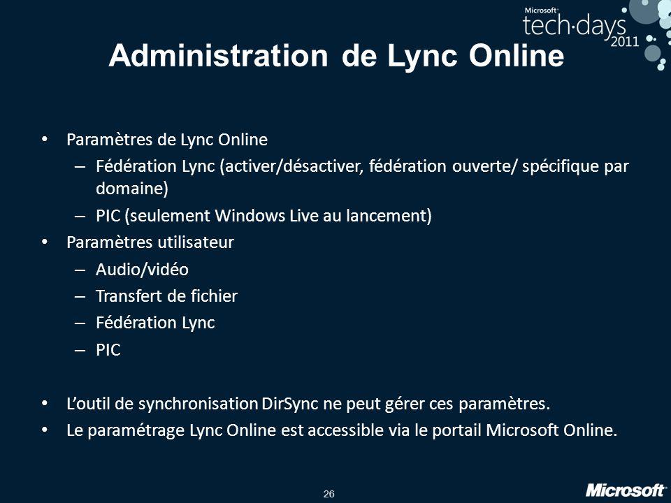 26 Administration de Lync Online Paramètres de Lync Online – Fédération Lync (activer/désactiver, fédération ouverte/ spécifique par domaine) – PIC (s