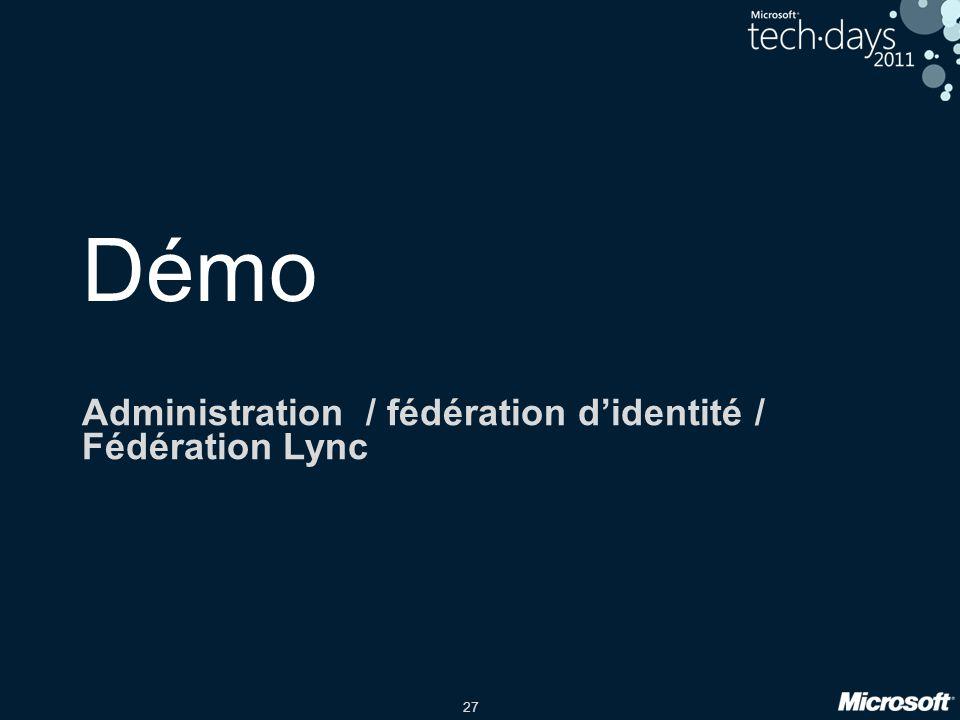 27 Démo Administration / fédération didentité / Fédération Lync