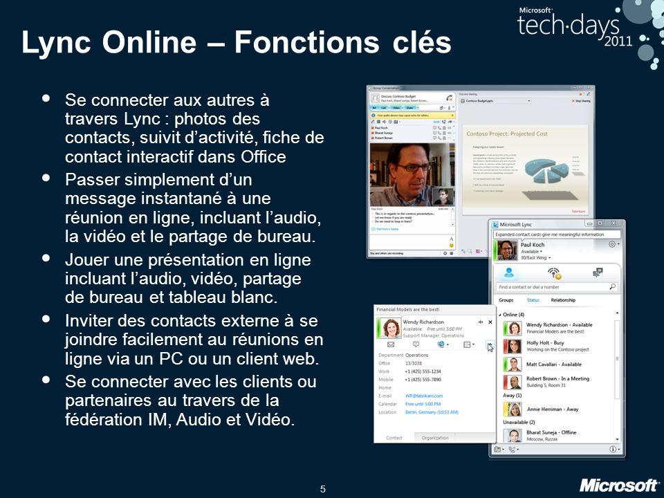 5 Lync Online – Fonctions clés Se connecter aux autres à travers Lync : photos des contacts, suivit dactivité, fiche de contact interactif dans Office