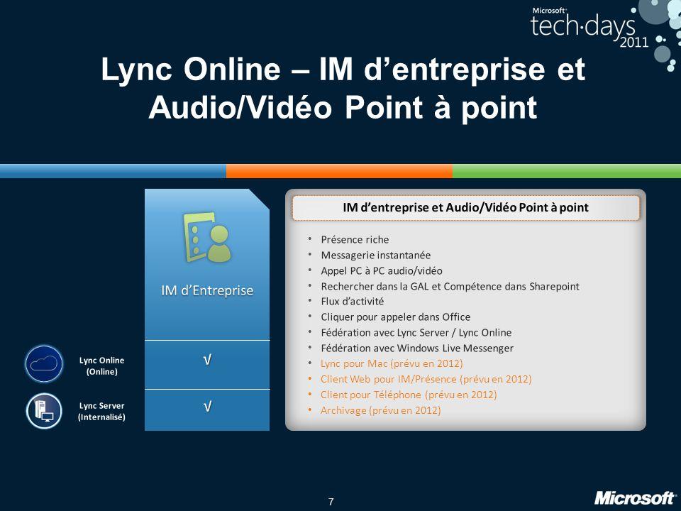 7 Lync Online – IM dentreprise et Audio/Vidéo Point à point Présence riche Messagerie instantanée Appel PC à PC audio/vidéo Rechercher dans la GAL et