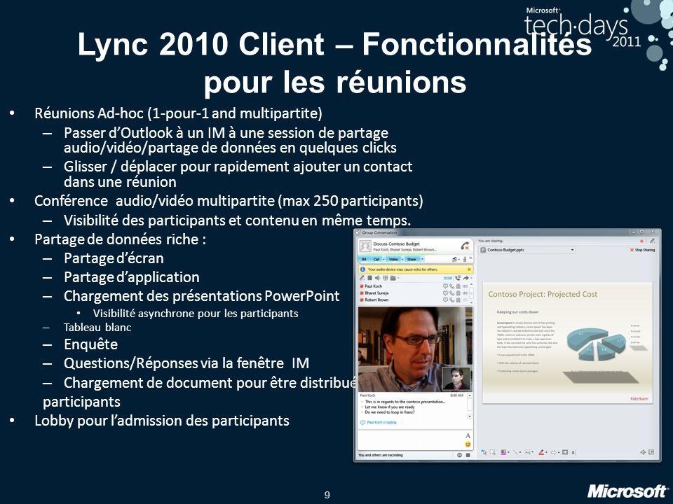 9 Lync 2010 Client – Fonctionnalités pour les réunions Réunions Ad-hoc (1-pour-1 and multipartite) – Passer dOutlook à un IM à une session de partage