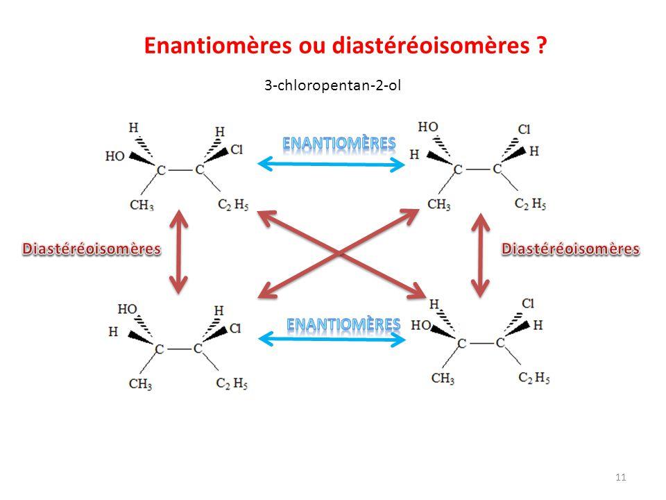 Enantiomères ou diastéréoisomères ? 3-chloropentan-2-ol 11
