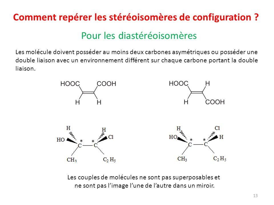 Comment repérer les stéréoisomères de configuration ? Les molécule doivent posséder au moins deux carbones asymétriques ou posséder une double liaison