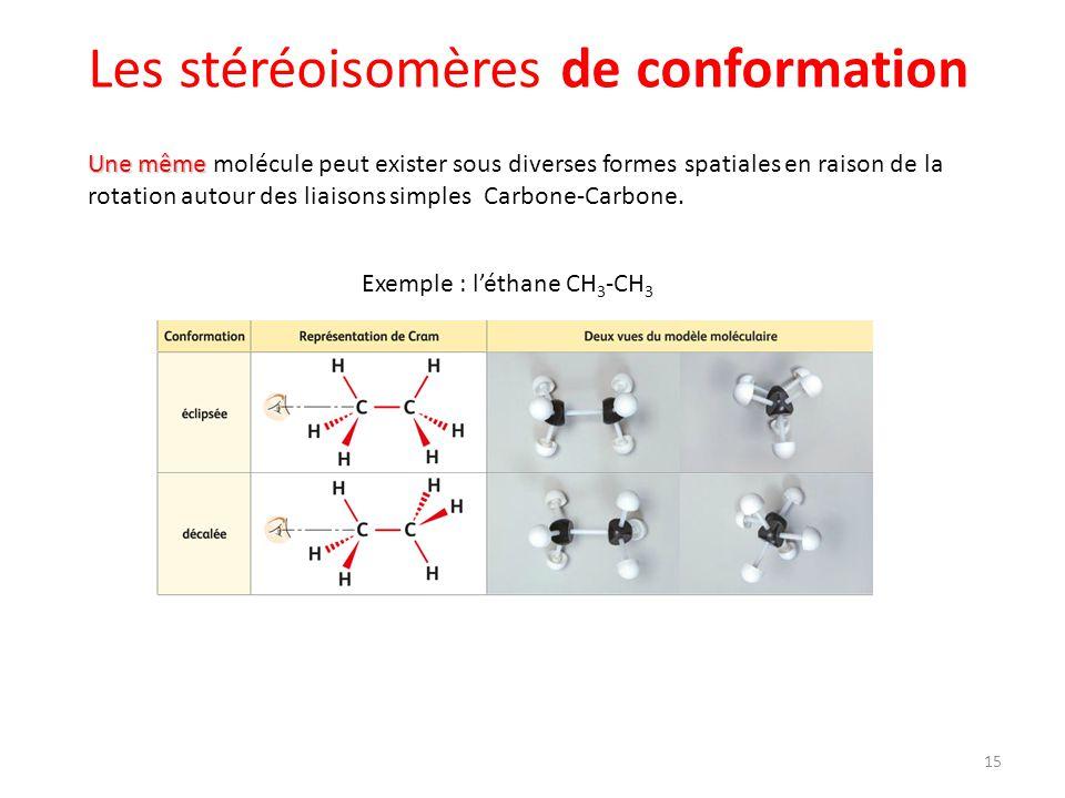 Une même Une même molécule peut exister sous diverses formes spatiales en raison de la rotation autour des liaisons simples Carbone-Carbone. Exemple :