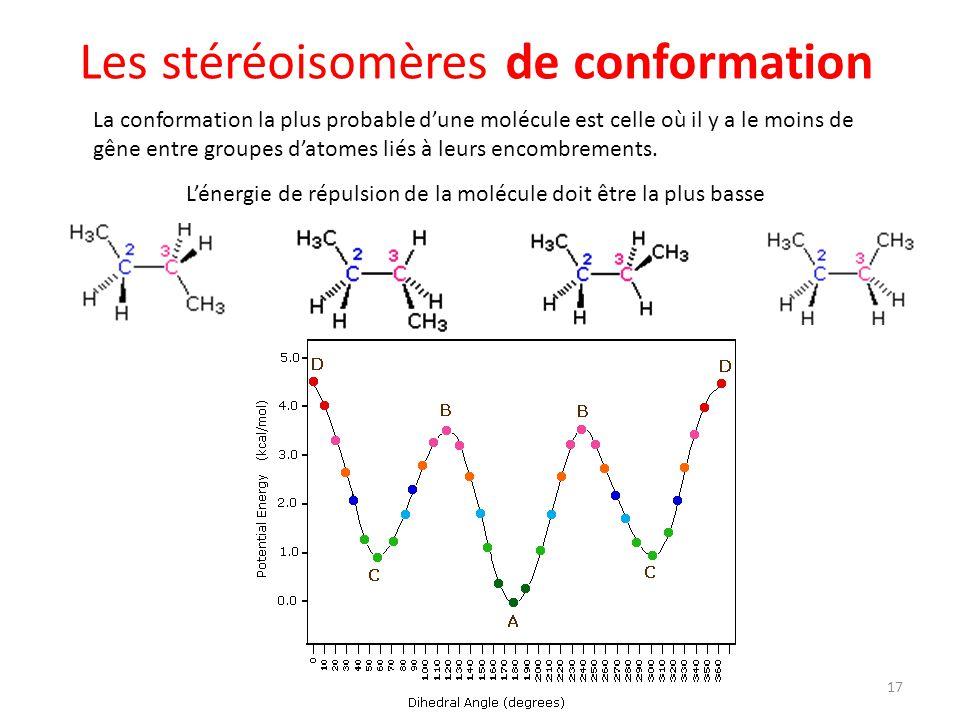 La conformation la plus probable dune molécule est celle où il y a le moins de gêne entre groupes datomes liés à leurs encombrements. Lénergie de répu