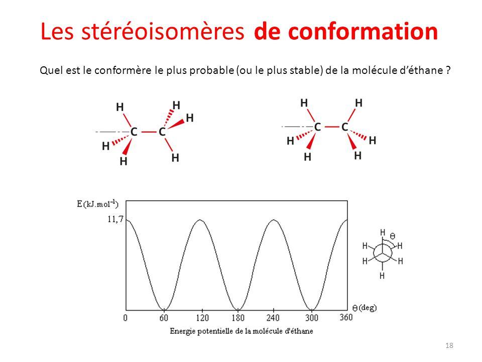 Les stéréoisomères de conformation Quel est le conformère le plus probable (ou le plus stable) de la molécule déthane ? 18