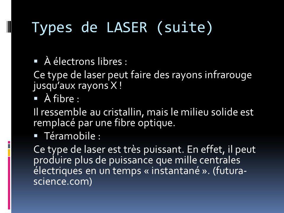 Types de LASER (suite) À électrons libres : Ce type de laser peut faire des rayons infrarouge jusquaux rayons X .