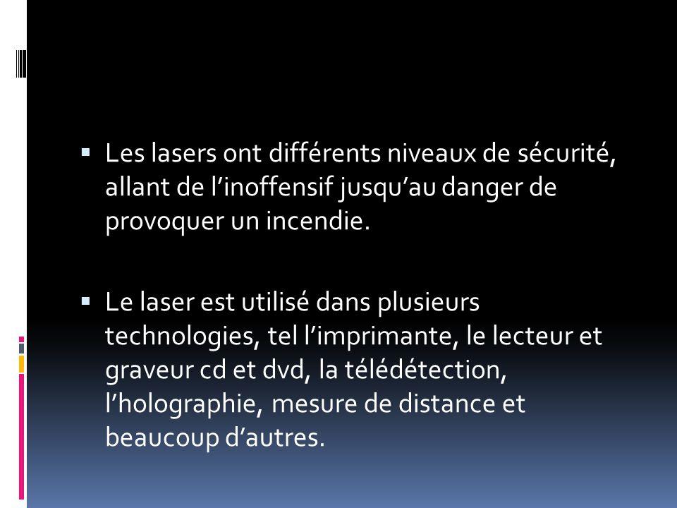 Les lasers ont différents niveaux de sécurité, allant de linoffensif jusquau danger de provoquer un incendie.