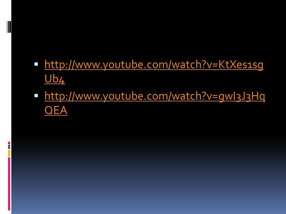 http://www.youtube.com/watch?v=KtXes1sg Ub4 http://www.youtube.com/watch?v=KtXes1sg Ub4 http://www.youtube.com/watch?v=gwI3J3Hq QEA http://www.youtube.com/watch?v=gwI3J3Hq QEA