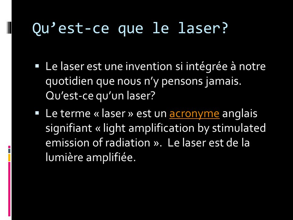 Bibliographie http://fr.wikipedia.org/wiki/Laser http://www.futura- sciences.com/fr/definition/t/physique- 2/d/maser_1010/ http://www.futura- sciences.com/fr/definition/t/physique- 2/d/maser_1010/ http://eurserveur.insa- lyon.fr/approphys/9Math&Phys/Laser/types.h tml http://eurserveur.insa- lyon.fr/approphys/9Math&Phys/Laser/types.h tml