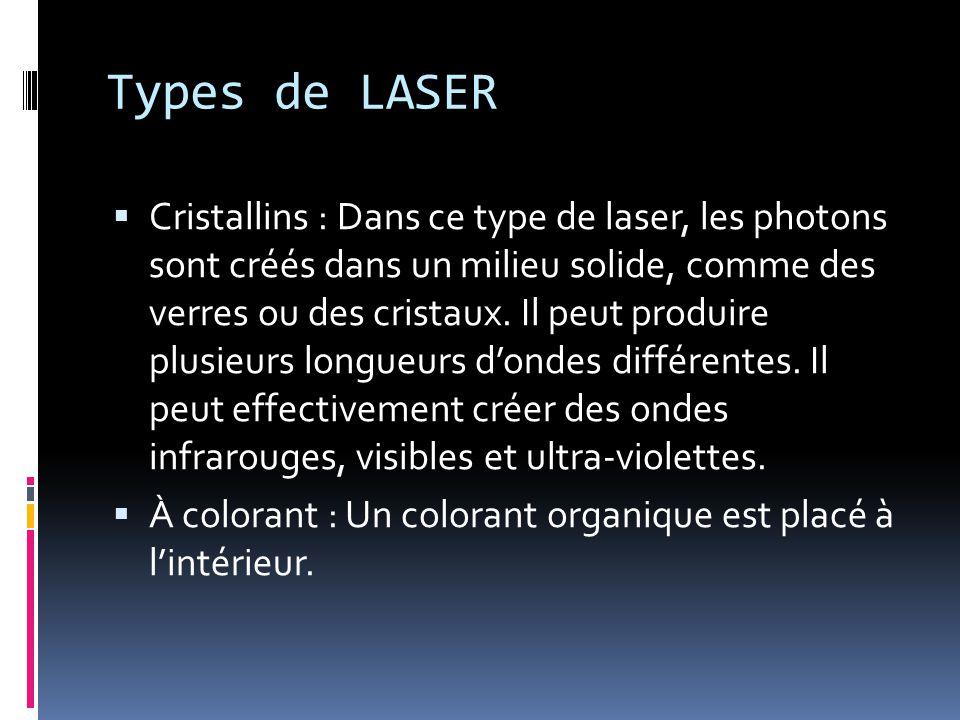 Types de LASER Cristallins : Dans ce type de laser, les photons sont créés dans un milieu solide, comme des verres ou des cristaux.
