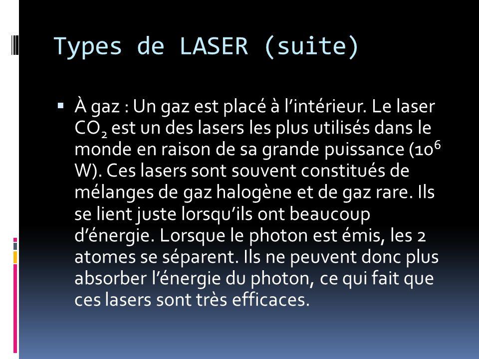 Types de LASER (suite) À gaz : Un gaz est placé à lintérieur.