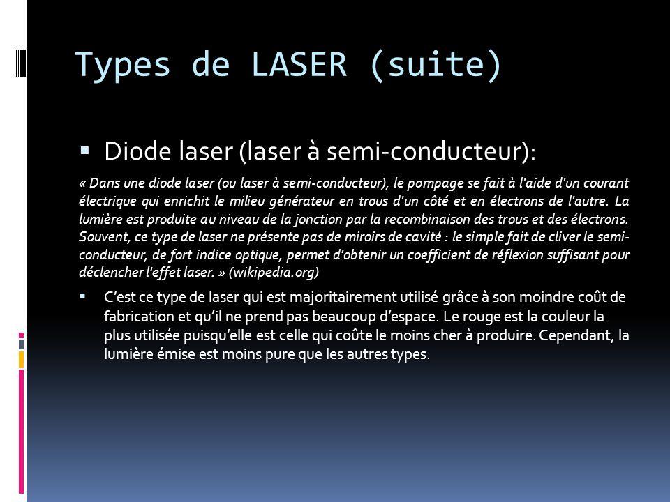 Types de LASER (suite) Diode laser (laser à semi-conducteur): « Dans une diode laser (ou laser à semi-conducteur), le pompage se fait à l aide d un courant électrique qui enrichit le milieu générateur en trous d un côté et en électrons de l autre.