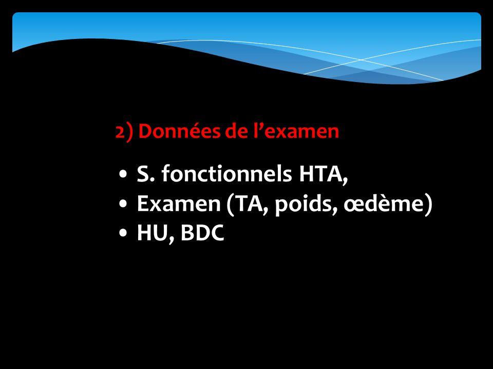 2) Données de lexamen S. fonctionnels HTA, Examen (TA, poids, œdème) HU, BDC