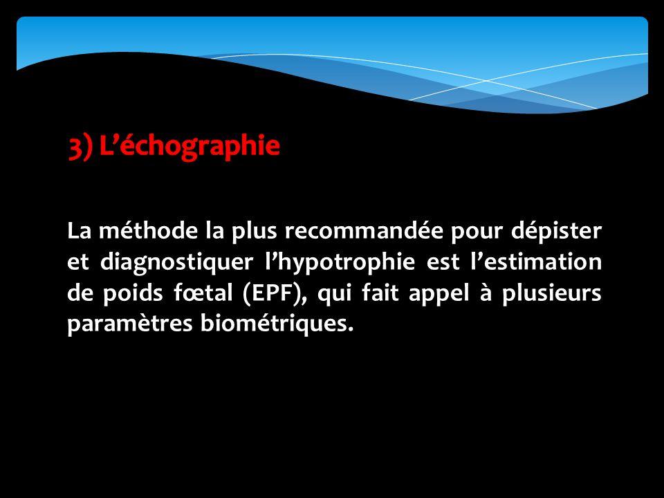 La méthode la plus recommandée pour dépister et diagnostiquer lhypotrophie est lestimation de poids fœtal (EPF), qui fait appel à plusieurs paramètres biométriques.