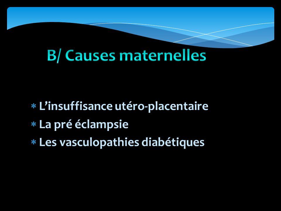 Linsuffisance utéro-placentaire La pré éclampsie Les vasculopathies diabétiques