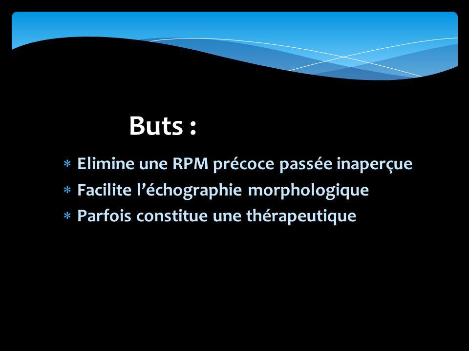 Elimine une RPM précoce passée inaperçue Facilite léchographie morphologique Parfois constitue une thérapeutique Buts :