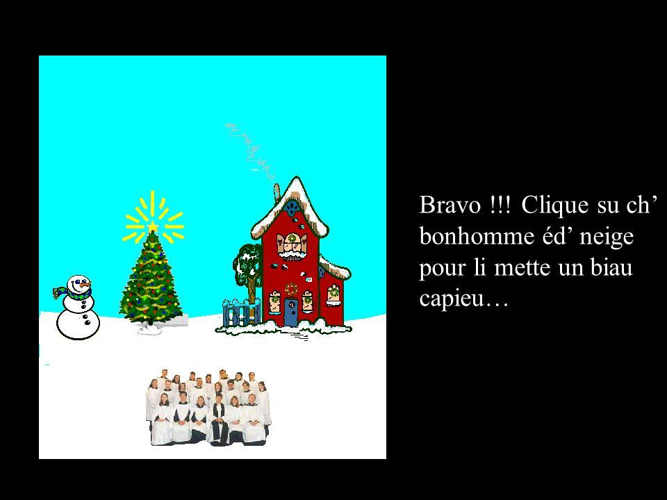 Bravo !!! Clique su ch bonhomme éd neige pour li mette un biau capieu…