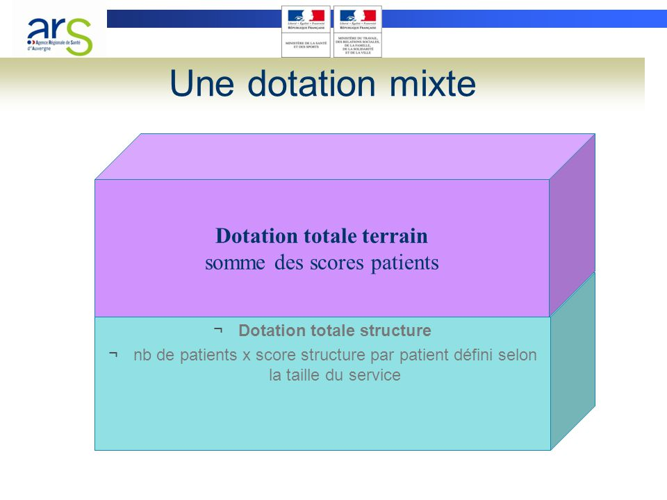 Une dotation mixte ¬Dotation totale structure ¬nb de patients x score structure par patient défini selon la taille du service Dotation totale terrain