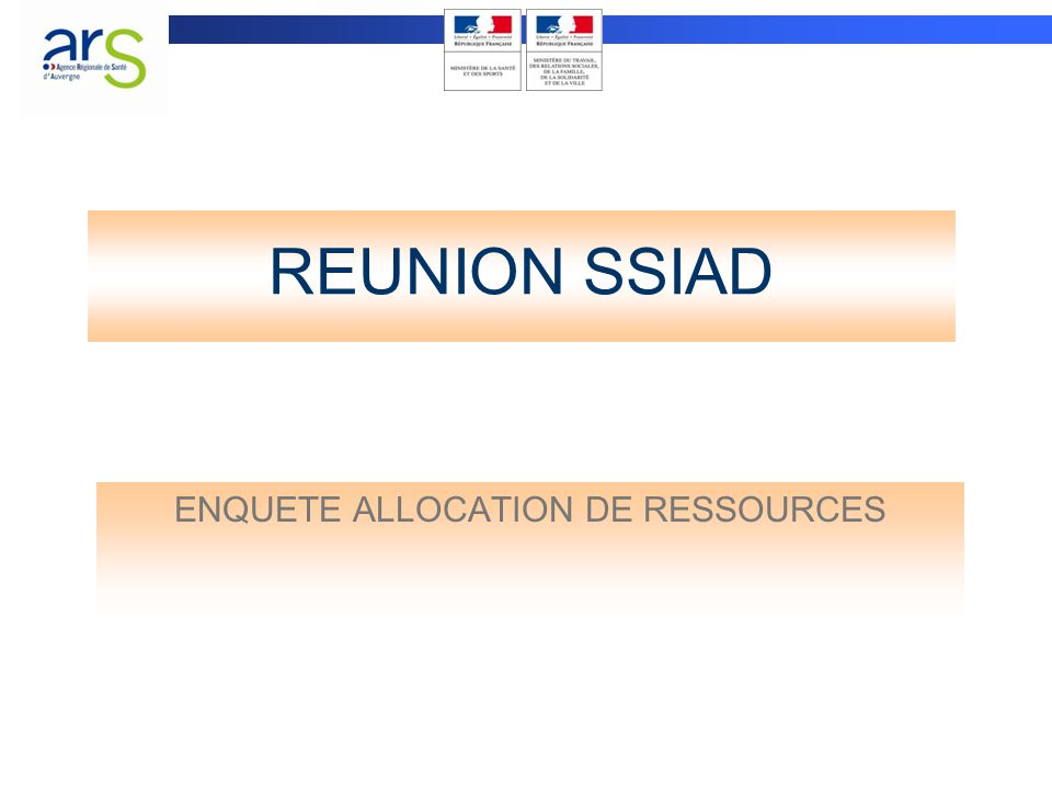 REUNION SSIAD ENQUETE ALLOCATION DE RESSOURCES