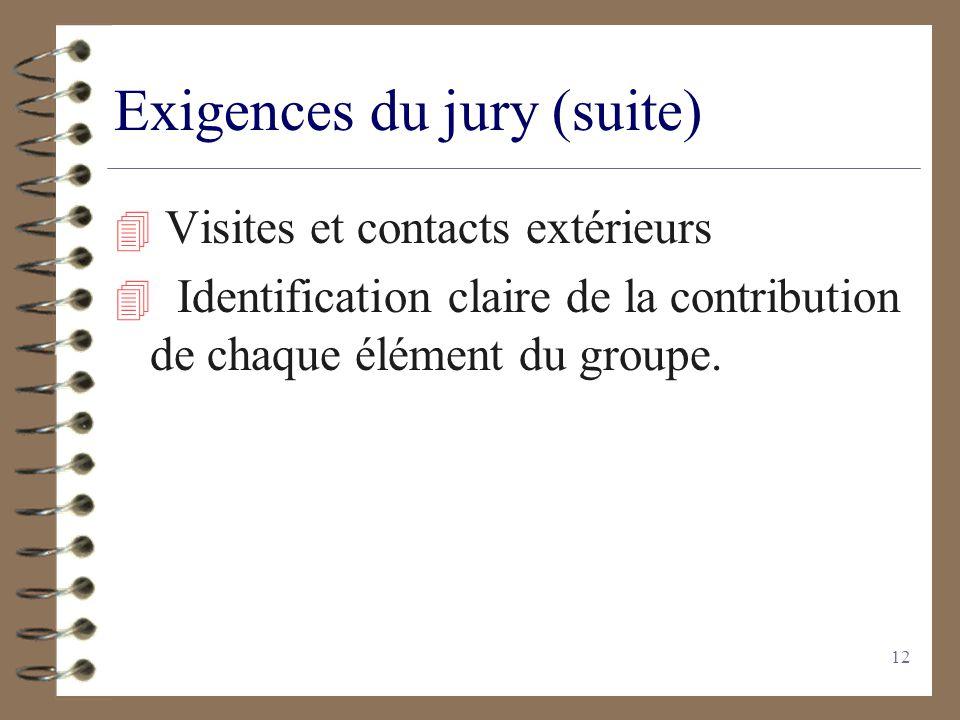 11 Exigences du jury 4 Le travail nest pas une simple étude bibliographique. 4 Lexposé nest pas un cours de physique. Votre démarche personnelle doit